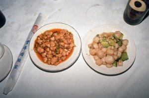 辣子鶏丁と清炒鮮貝