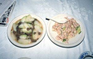 冬瓜の料理と蝦の料理