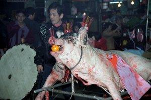 豚の生贄@新竹城隍廟夜市
