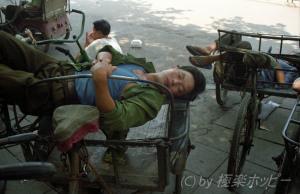 三輪車でお昼寝@長沙ぶらぶら