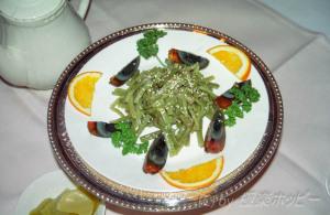 貢菜と皮蛋@華亭賓館